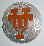texas longhorns logo sign in brushed aluminum and texas longhorns logo sign