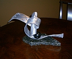marble sculpture in brushed aluminum and abstract small sculpture design
